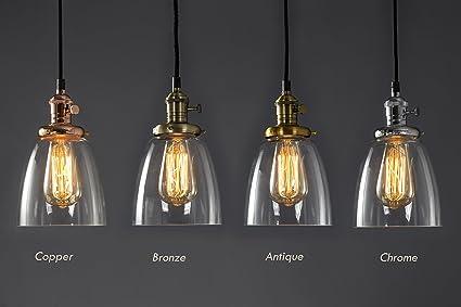 Acabado cromado de cristal marco Vintage Loft luz lámpara de techo