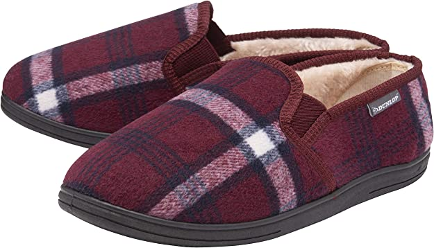 Dunlop JETHRO Mens House Indoor Outdoor Warm Comfy Slip On Full Slippers Olive