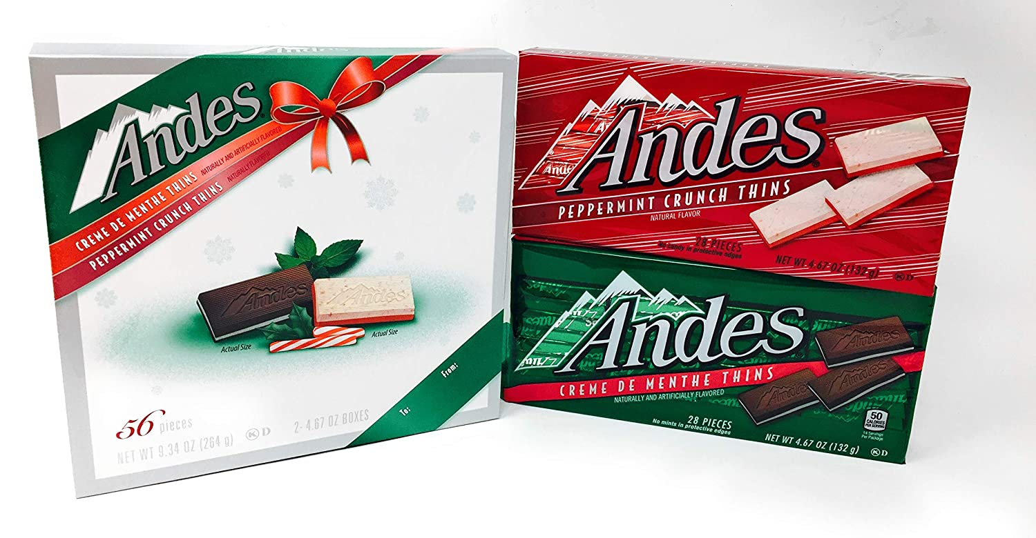Andes Creme De Menthe and Peppermint Crunch Thins Holiday Pack (56 Pieces)