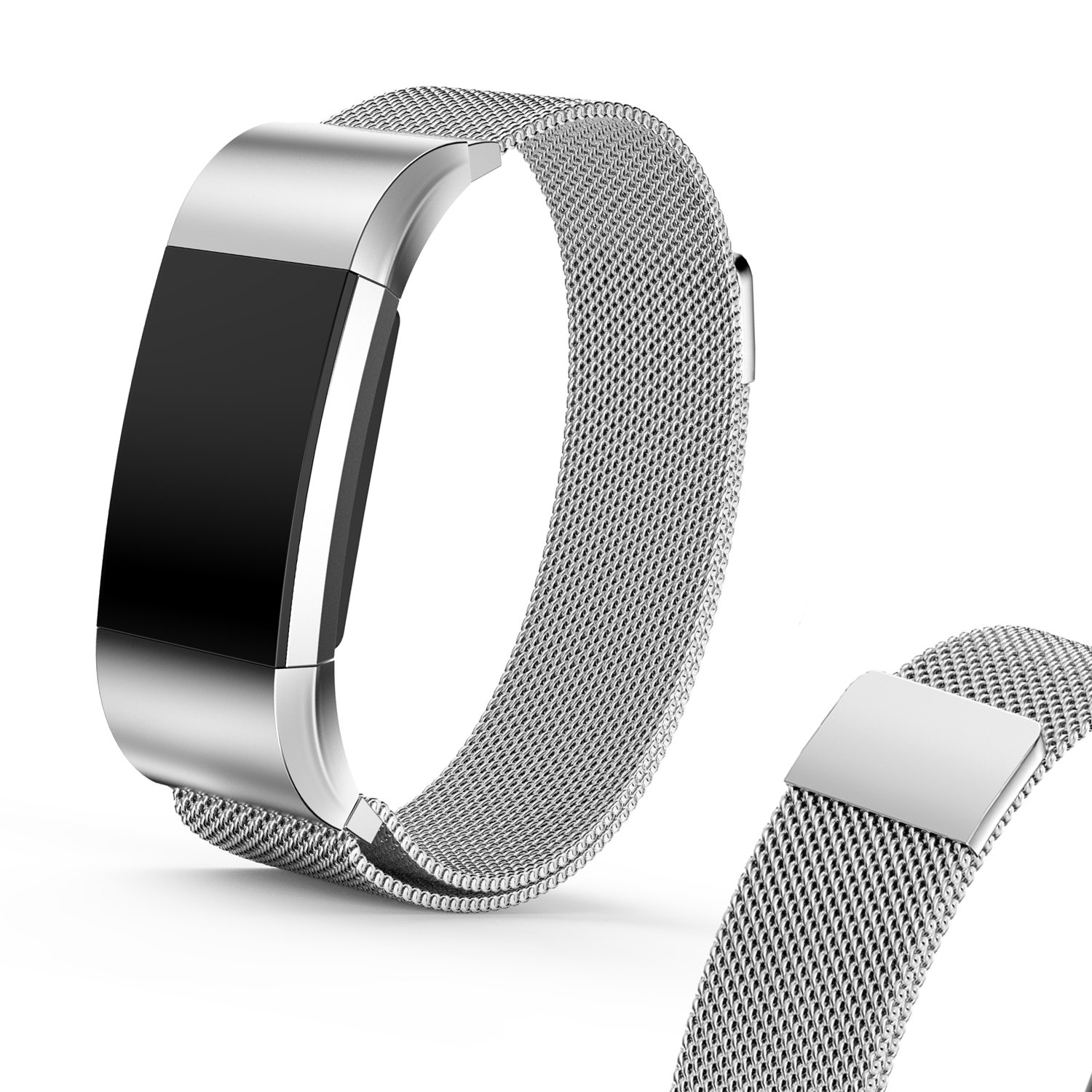 I-SMILE Fitbit Charge 2 Smartwatch Bands, Milanese Magnetic Stainless Steel Metal Replacement Wristband for Fitbit Charge 2, Rose gold, Gold, Black, Silver