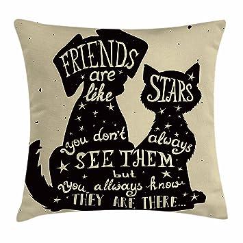Amazon.com: rdsfhsp Life siluetas de perro y gato con ...
