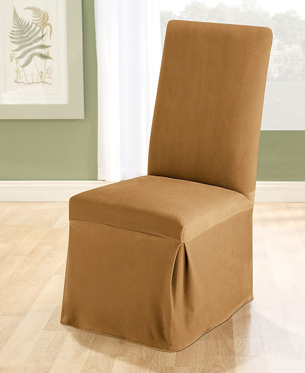 amazoncom sure fit stretch pique 2 knit dining room chair slipcover chocolate sf35921 home u0026 kitchen