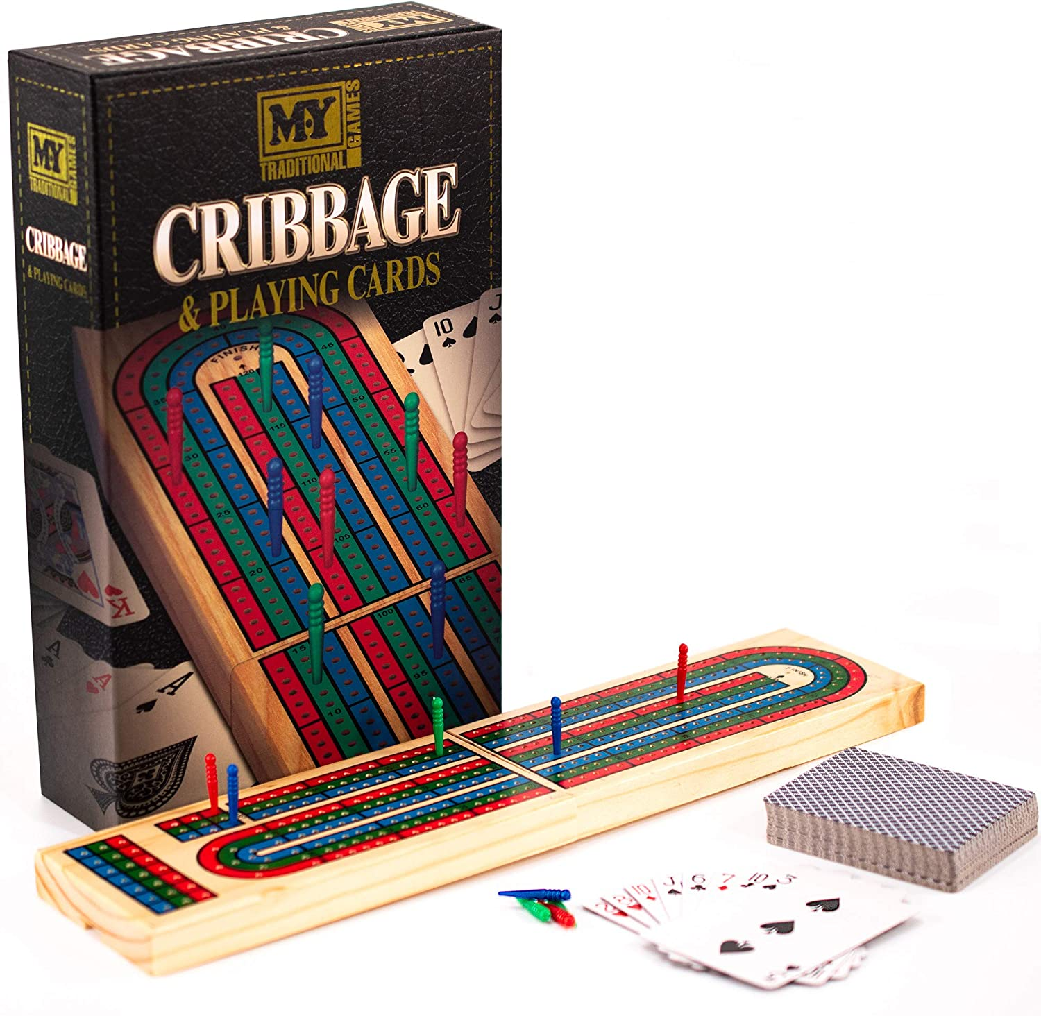 M.Y Deluxe Solid Wood Cribbage Board /& Playing Cards Traditional Card Game