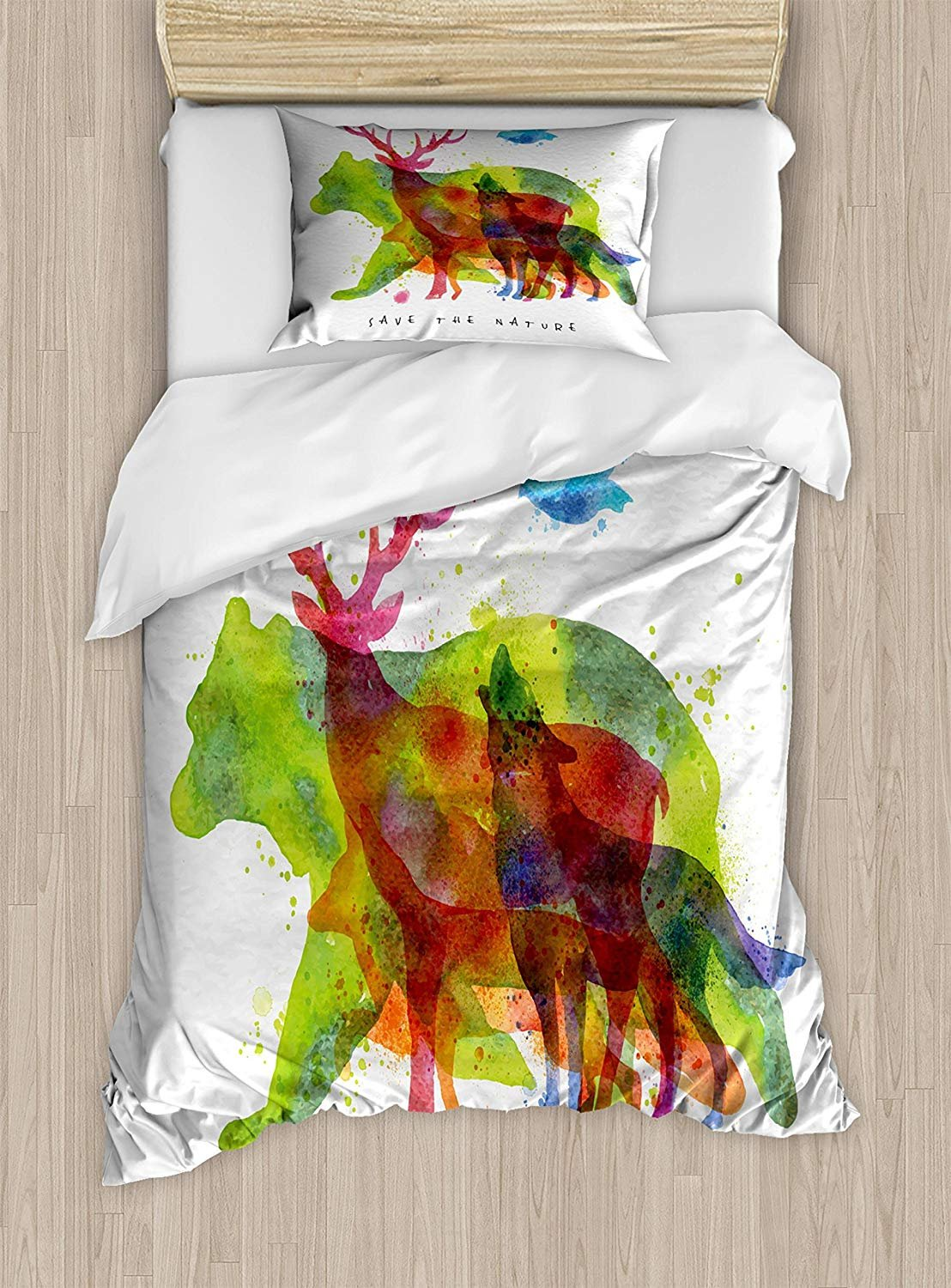 Twin XL Extra Long Bedding Set,Animal Duvet Cover Set,Alaska Wild Animals Bears Wolfs Eagles Deers in Abstract Colored Shadow like Print,Include 1 Flat Sheet 1 Duvet Cover and 2 Pillow Cases