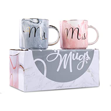 Mr. & Mrs. Coffee Mug Set - Ceramic Wedding, Cute, Elegant, Funny Couples Gift - Marble with Gold Cursive Text