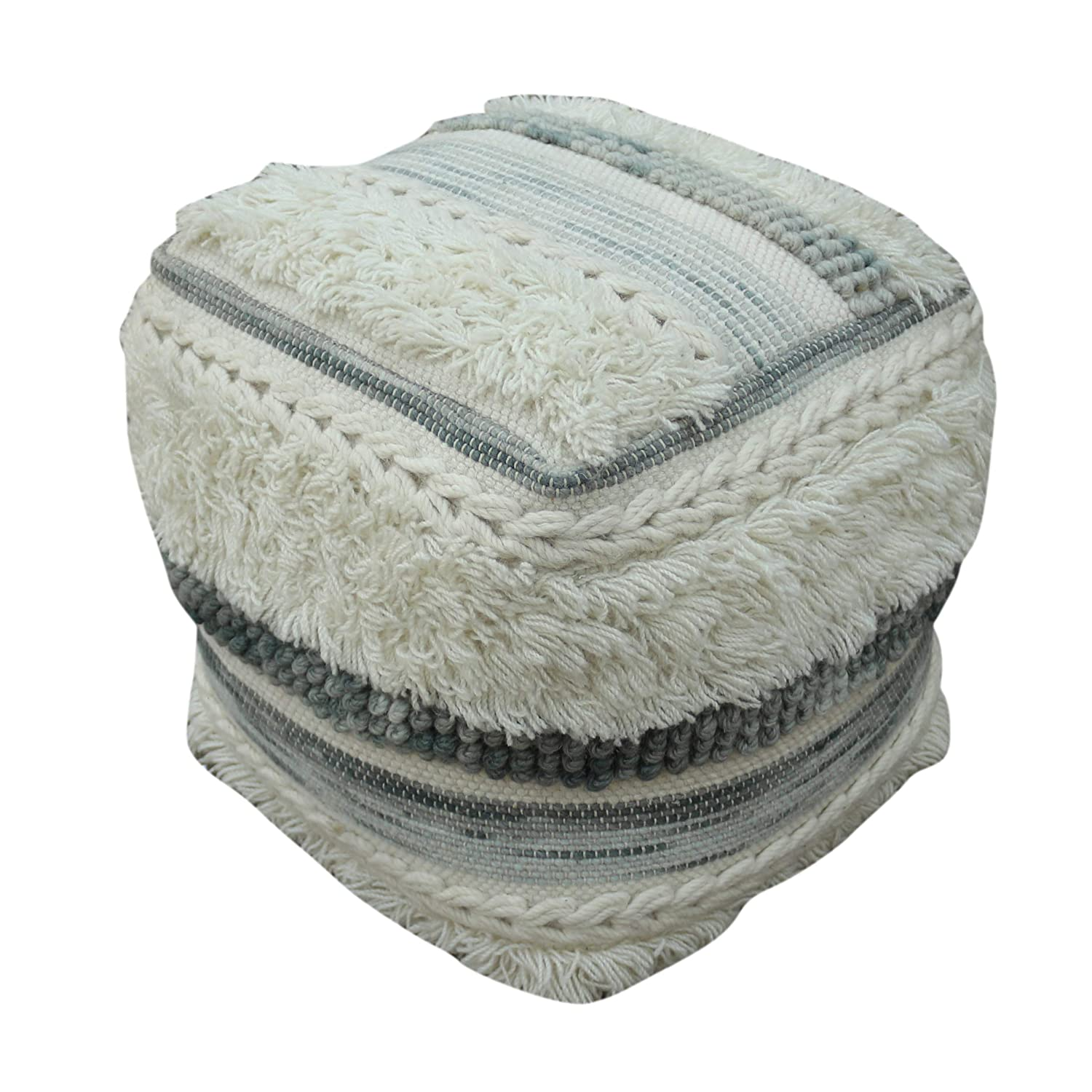 Curry Boho Wool Pouf, Ivory and Gray Great Deal Furniture