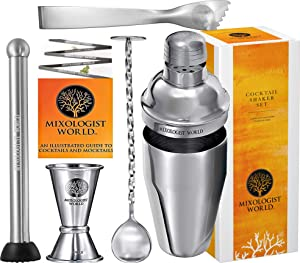 Premium Cocktail Shaker Bartender Kit -24 Ounces Bar Set Built-in Strainer With Muddler, Mixing Spoon, Measuring Jigger and Ice Tong Plus Cocktail Recipes - Bar Tools for Martini Drink Mixer Barware