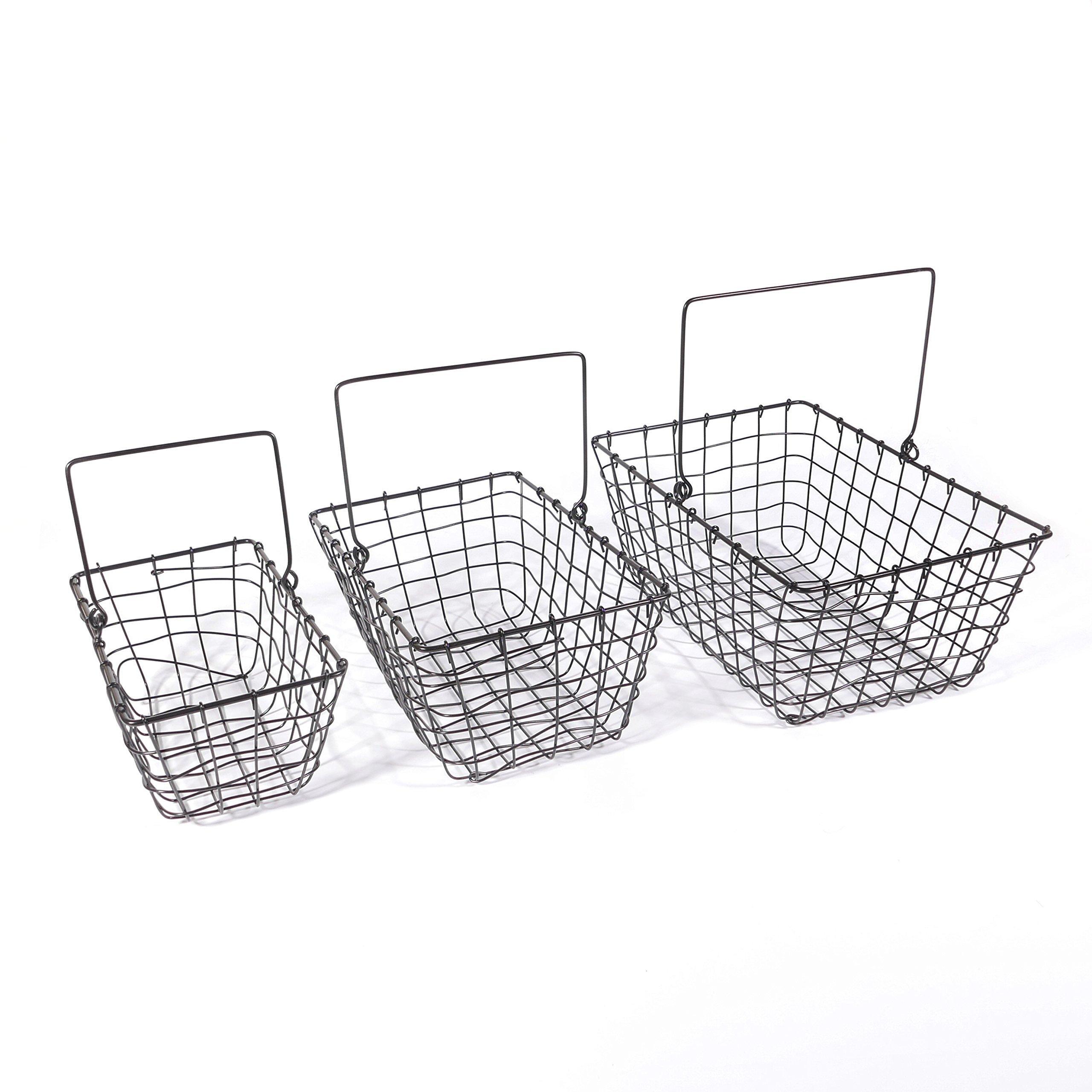 SLPR Wire Storage Basket with Handle (Set of 3, Industrial Gray) | Tapered Rustic Vintage Basket Organizer for Kitchen Dining Room Nursery Garden Freezer