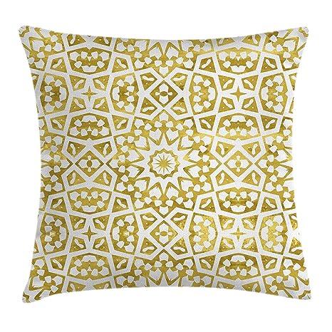 Funda de cojín almohada de oro y blanco diseño árabe ...