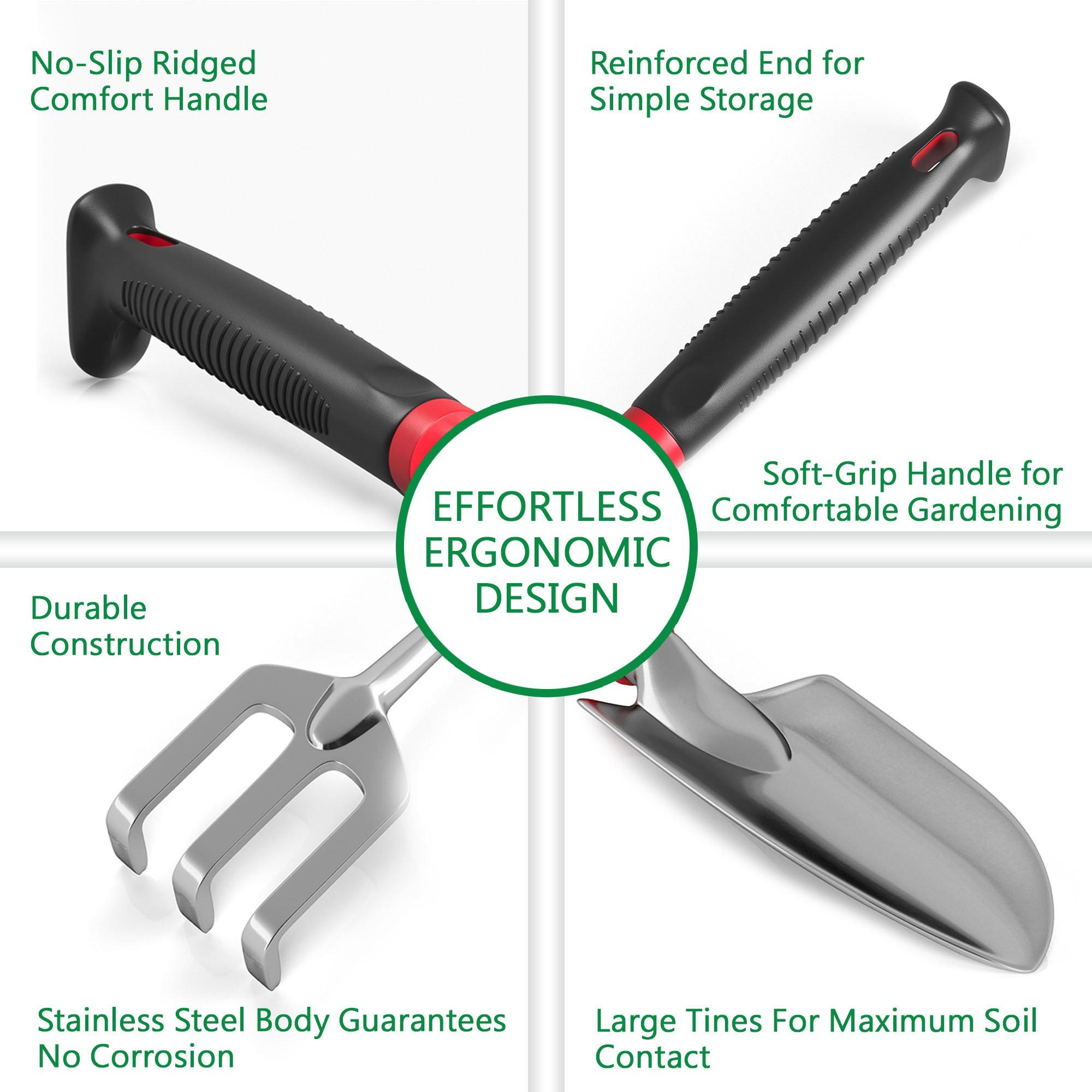 Comfort Plus 7-Piece Gardening Tool Set - Includes EZ-Cut Pruners, Lightweight Aluminum Tools with Soft Rubber Handles and Ergonomic Garden Tote and High Density Comfort Knee Pads by Sleek Garden (Image #8)