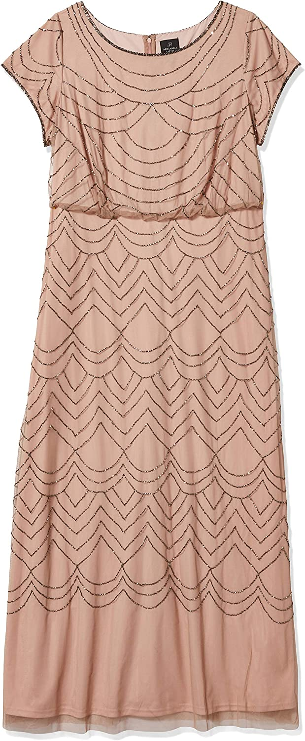 Adrianna Papell Women's Plus Size Short Sleeve Beaded Gown Dress