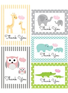 Amazon Com 50 Cnt Baby Footprint Girl Baby Shower Thank You Cards