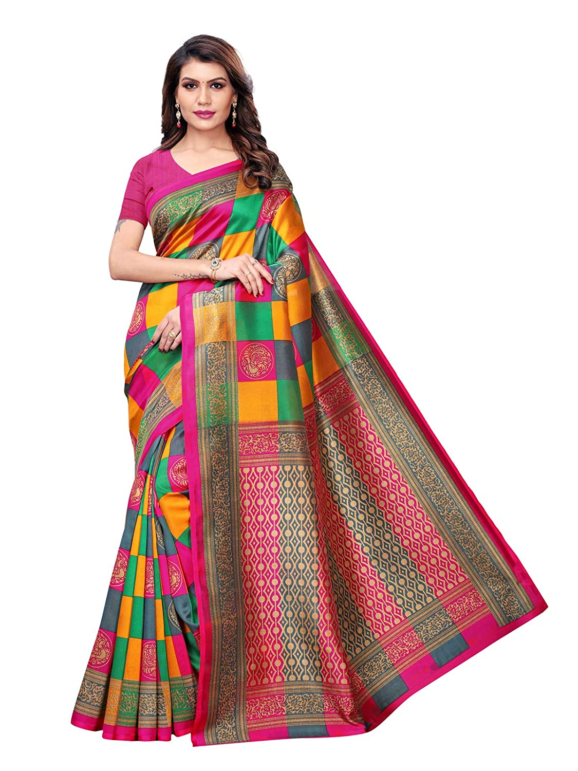 Kanchnar Women's Poly Silk Printed Saree