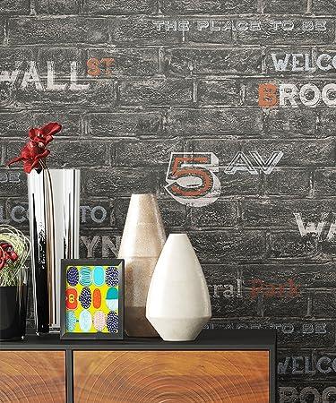 Tapete Schwarz Mauer Graffiti Style | Schöne Edle Tapete Im Natürlichen  Design | Moderne 3D Optik