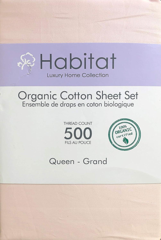 Habitat Organic Cotton Solid Light Pink 4pc Sheet Set Luxury Fine Linens 500 Thread Count (Queen)