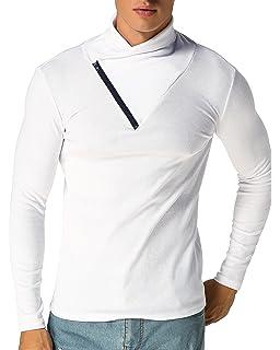 MODCHOK Homme T-Shirt Manche Longue Pull Top Col Roulé Haut Zippé Couleur  Unie 676933de90e7