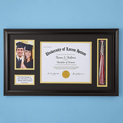 Graduation Photo and Diploma Keepsake Frame, Black
