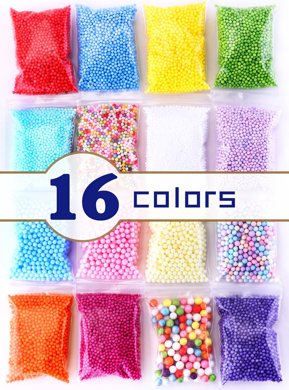 Tawadi Foam Beads for Slime - 3 Size Craft Foam Balls for DIY Crafts Supplies -16 Pack Slime Beads for Homemade Slime Making - Floam Beads for Soft Clay and Home Decoration (16 Pack) 4336848754
