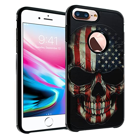 pretty nice b6e43 d10e4 iPhone 8 Plus Flag Skull Case, DURARMOR US Flag Skull Dual Layer Hybrid  ShockProof Ultra Slim Fit Armor Air Cushion Defender Protector Cover for ...