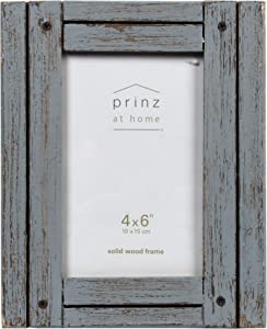 PRINZ Homestead 4-Inch by 6-Inch Rustic Wood Frame in Distressed Finish, Gray