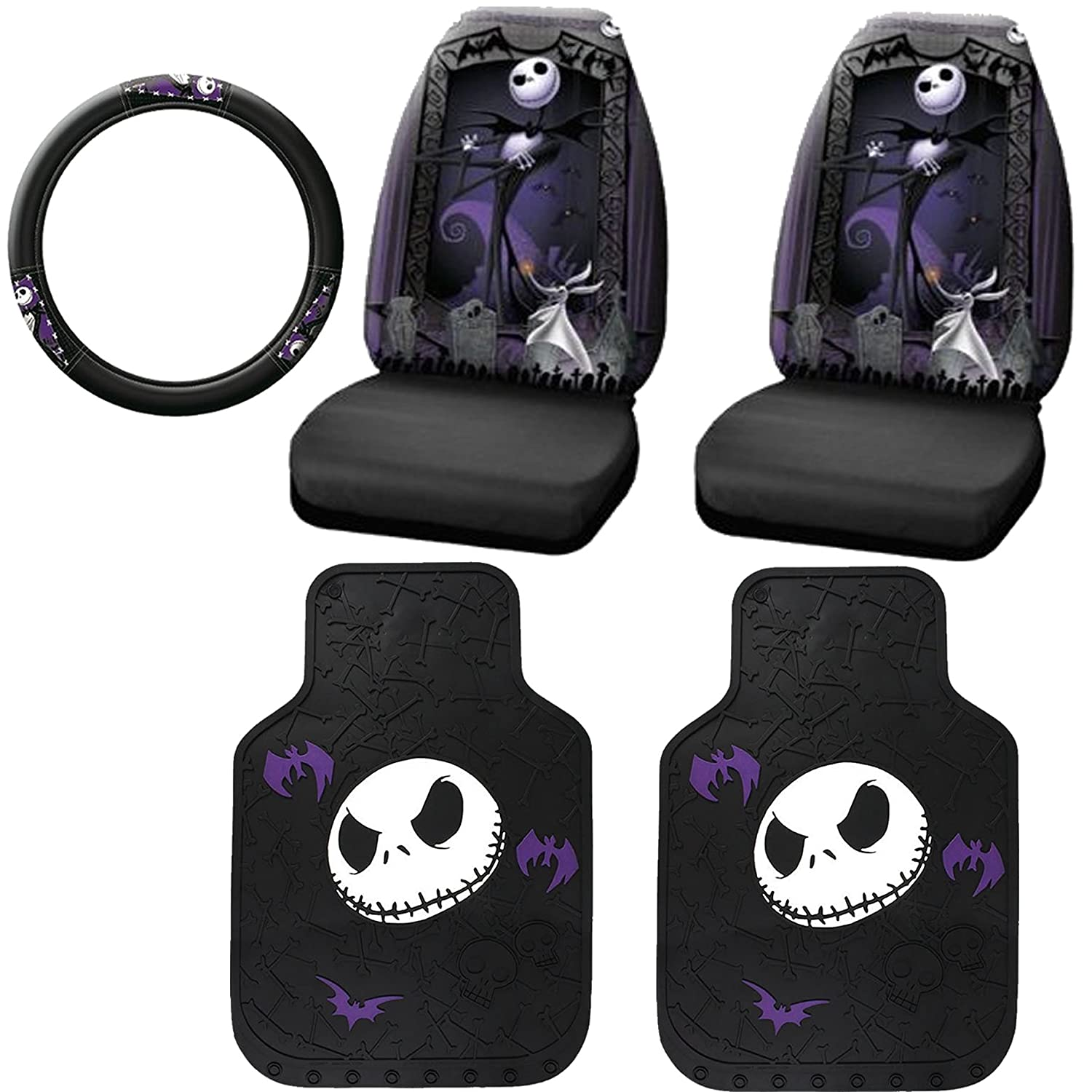 Jack skellington bathroom set - Amazon Com 5pc Nightmare Before Christmas Jack Skellington Graveyard Nbc Auto Accessories Interior Combo Kit Gift Set Front Floor Mats Seat Cover And