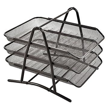 Organizador de escritorio de 3 niveles con bandeja para archivar documentos A4 de malla de alambre
