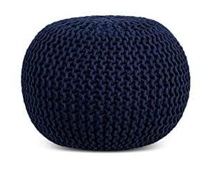 BIRDROCK HOME Round Pouf Foot Stool Ottoman - Knit Bean Bag Floor Chair - Cotton Braided Cord - Great for The Living Room, Bedroom and Kids Room - Small Furniture (Navy)