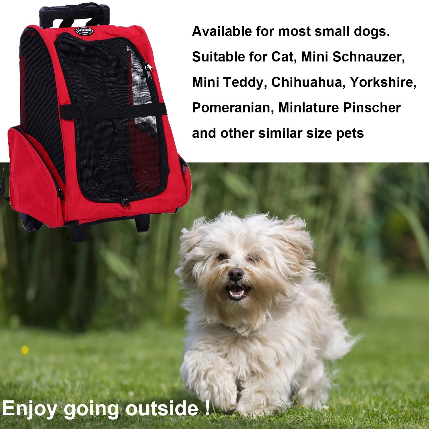 Pettom Roll Around 4-in-1 Pet Carrier Travel Backpack for Dogs & Cats&Small Animals Travel Tote Airline Approved (Small-Hold pet up to 10 lbs, Purple) by Pettom (Image #7)