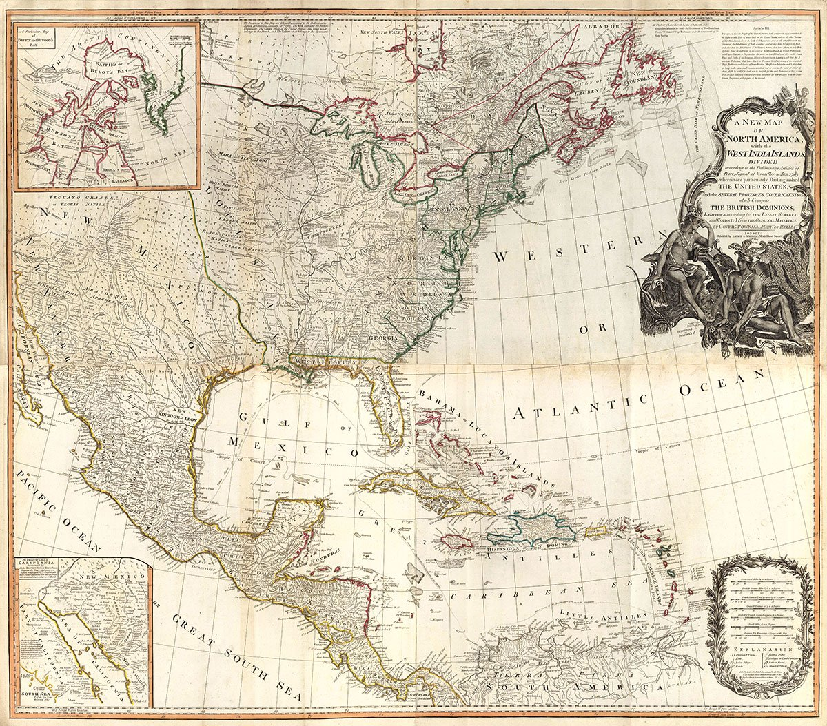 1794 World Atlas | (Composite of) A new map of North America, with the West India Islands. (with) A particular map of Baffin and Hudson's Bay. (with) The passage by land | Antique Vintage Map Reprint