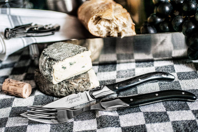 Luxury Line Laguiole Style de Vie Set di 6 forchette Manico in Ebano