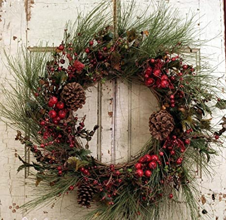 Christmas Door.Old Fashion Christmas Door Wreath