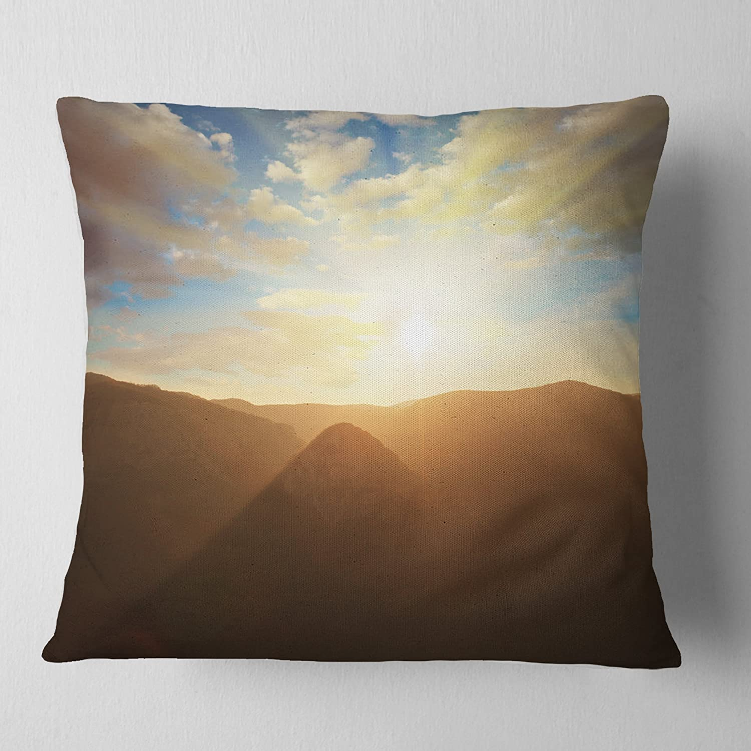 in Sofa Throw Pillow 26 in Designart CU12761-26-26 Sunset Over Gloomy Mountains African Landscape Printed Cushion Cover for Living Room x 26 in Insert Side