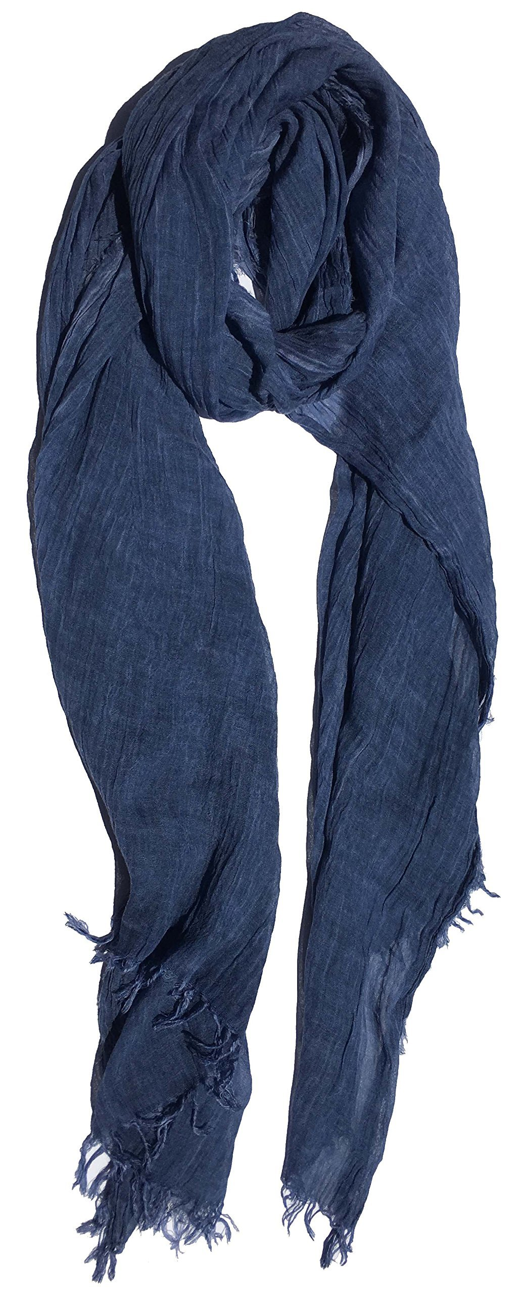 100% Pure Natural Cotton, No Synthetic Fibers, Unisex, Scarves - Multi Colors/Styles (Chambray Blue)
