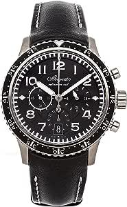 Breguet Transatlantique Type XXI Flyback Men's Black Leather Band Watch - 3810TI/H2/3ZU