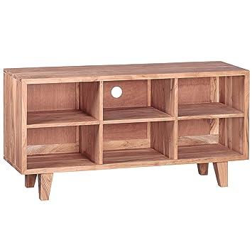 Wohnling Lowboard Massivholz Akazie Kommode 118 Cm Tv Board 6 Föcher