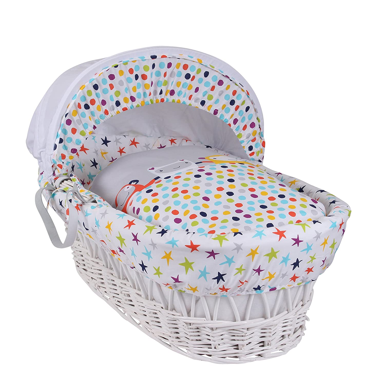 Clair de Lune The Dudes White Wicker Moses Basket inc. bedding, mattress & adjustable hood (Grey/Brights) CL5641W