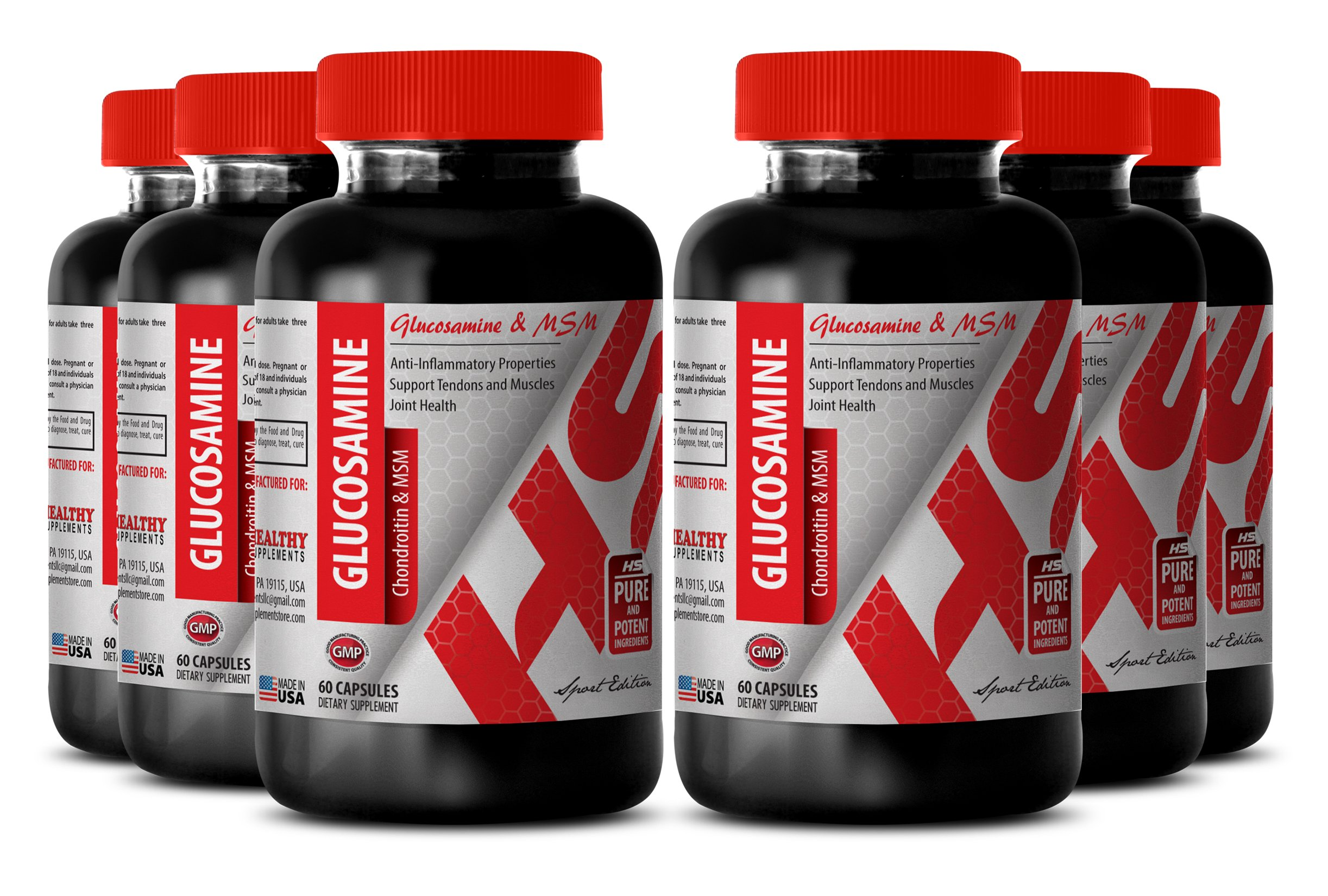 Glucosamine vitamin c - GLUCOSAMINE AND MSM 3230 MG - support bone tissue (6 Bottles)