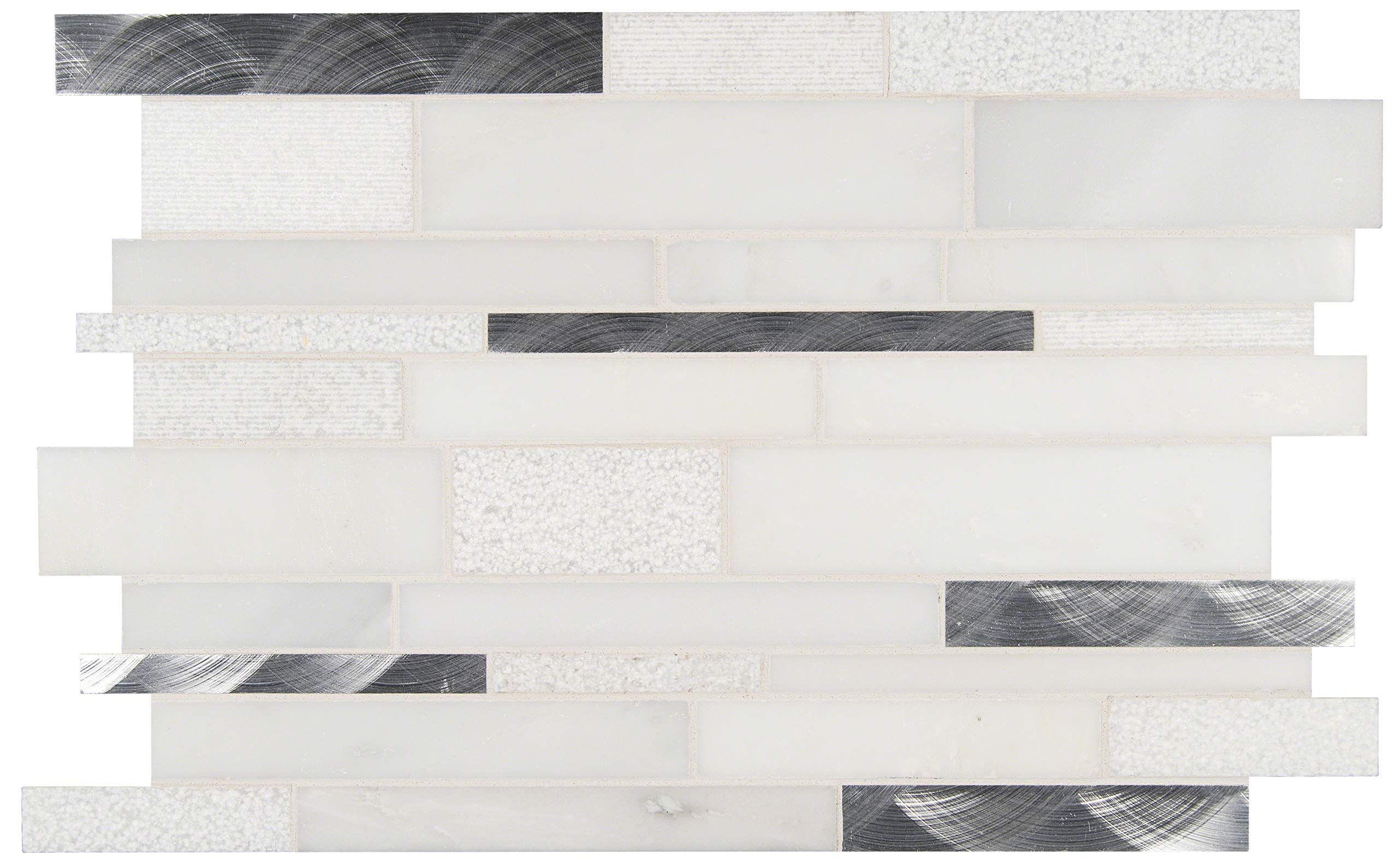 MS International AMZ-MD-00123 Moderno Blanco Interlocking Tile 12 in. x 18 in. White 10 Piece by MS International