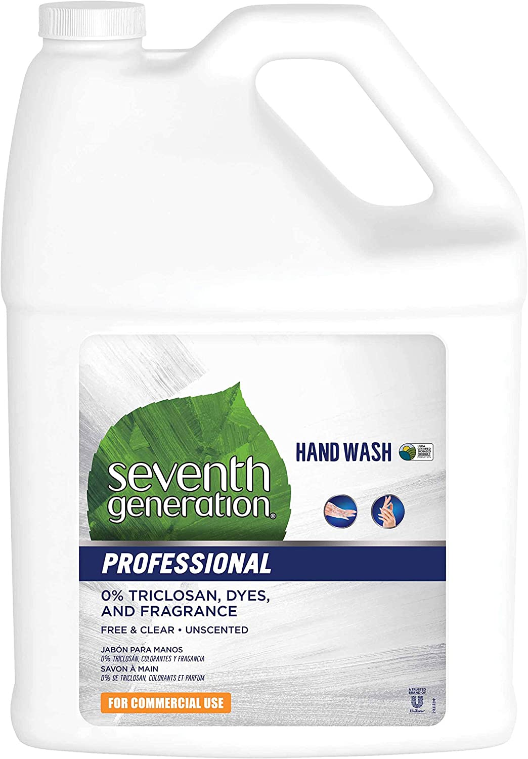Seventh Generation Professional Liquid Hand Wash Soap Refill, Free & Clear, Unscented, 128 fl oz (Pack of 2)
