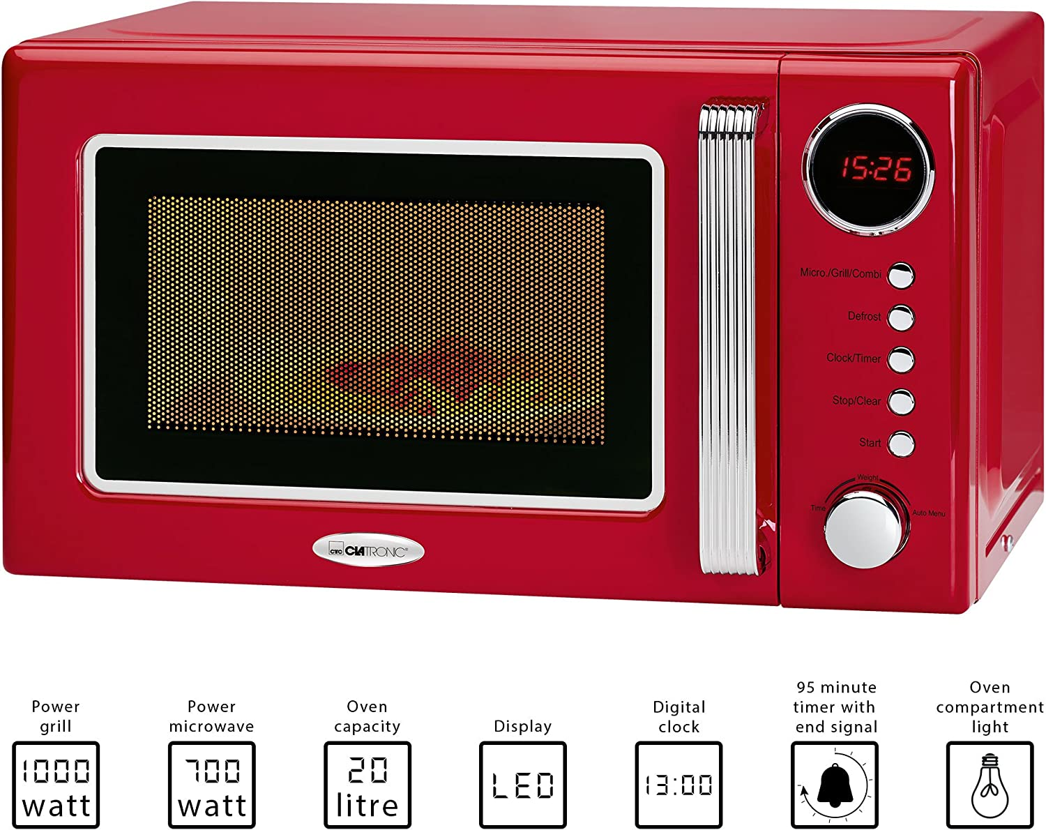 Clatronic Mwg 790/micro-ondes//44/cm//fonction Timer//Rouge rot