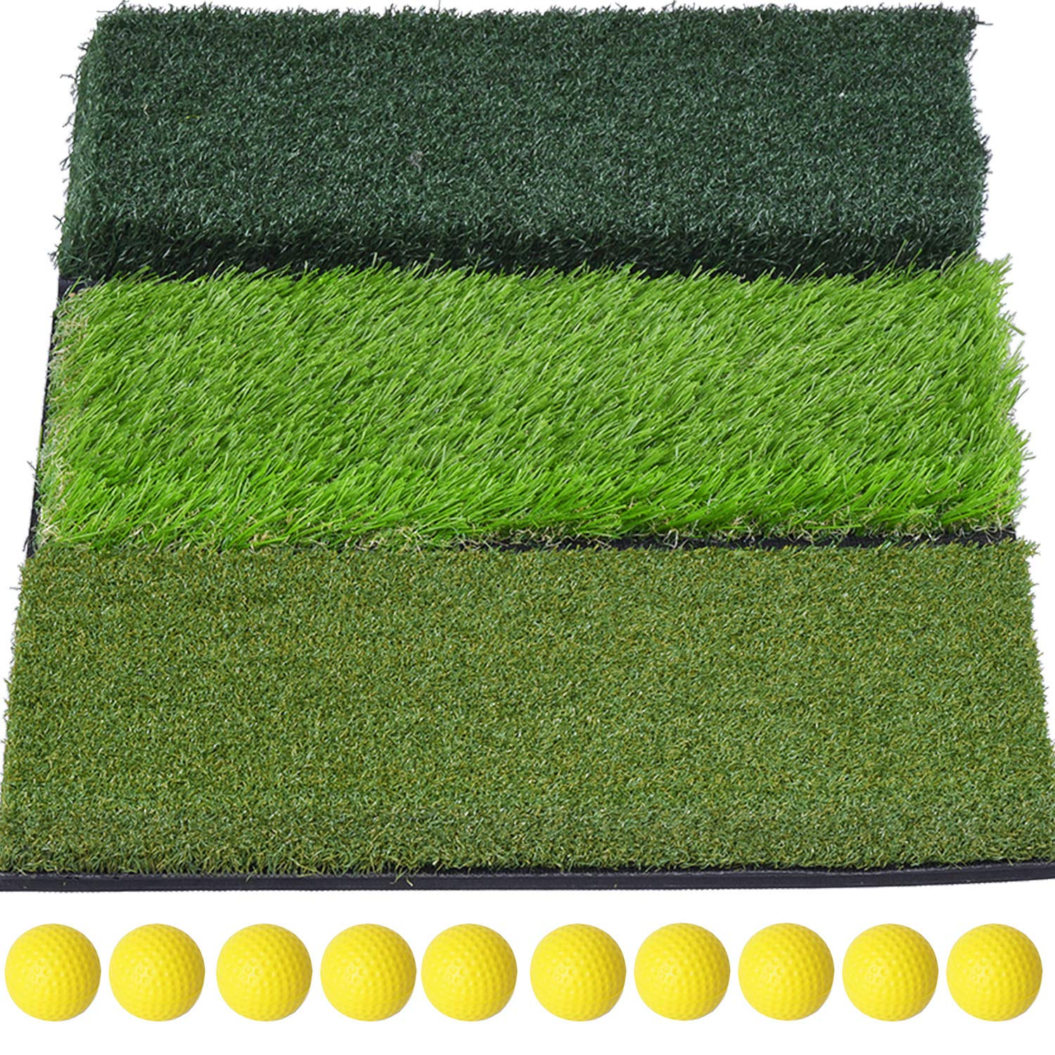 SkyLife 3-Turf Golf Hitting Grass Mat, Portable Training Fairway Rough TEE Turf, Driving Chipping Putting Golf Equipment, Home Backyard Garage Outdoor Practice, 25''x16'' by SkyLife