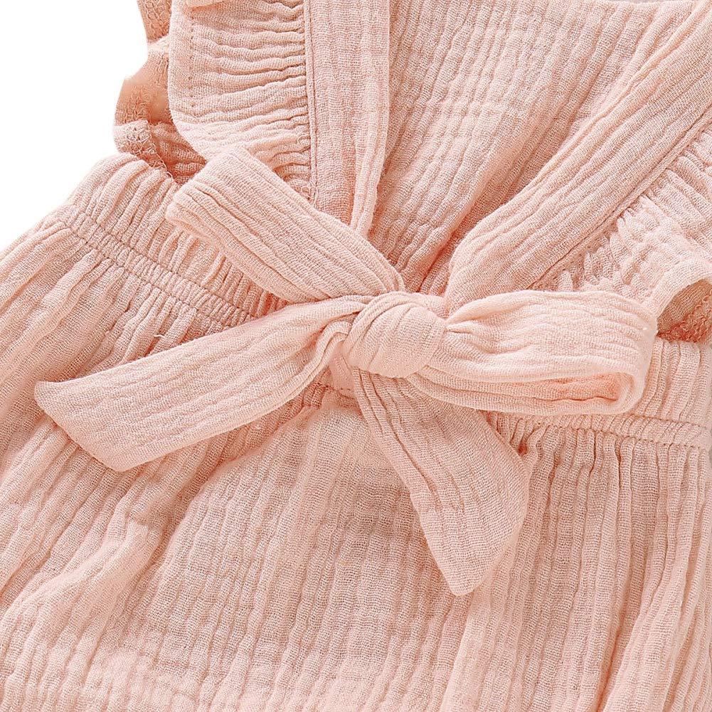 2 St/ück Sommer Outfits Neugeborene M/ädchen Baumwolle Leinen Strampler Hongyuangl Baby M/ädchen Kleidung Sets Stirnband