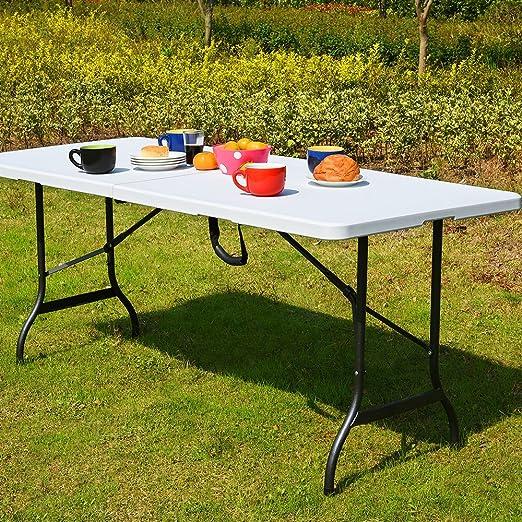 Monzana Table de Camping 76x183cm Pliante Plastique Robuste Blanche Table  de Jardin terrasse Buffet