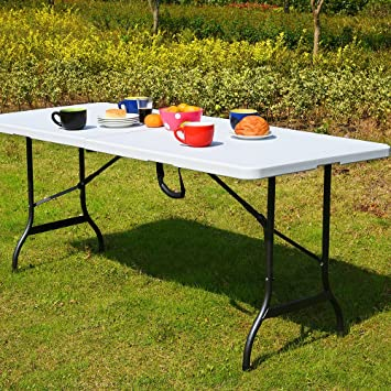 Monzana | Table de Camping • 76x183cm • Pliante • Plastique Robuste Blanc |  Table de Jardin, terrasse, Buffet