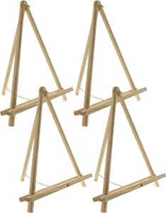 """U.S. Art Supply 16"""" High Natural Wood Display Stand A-Frame Artist Easel (Pack of 4) - Adjustable Wooden Tripod Tabletop Holder Stand for Canvas, Painting Party, Kids Crafts, Photos, Pictures, Signs"""