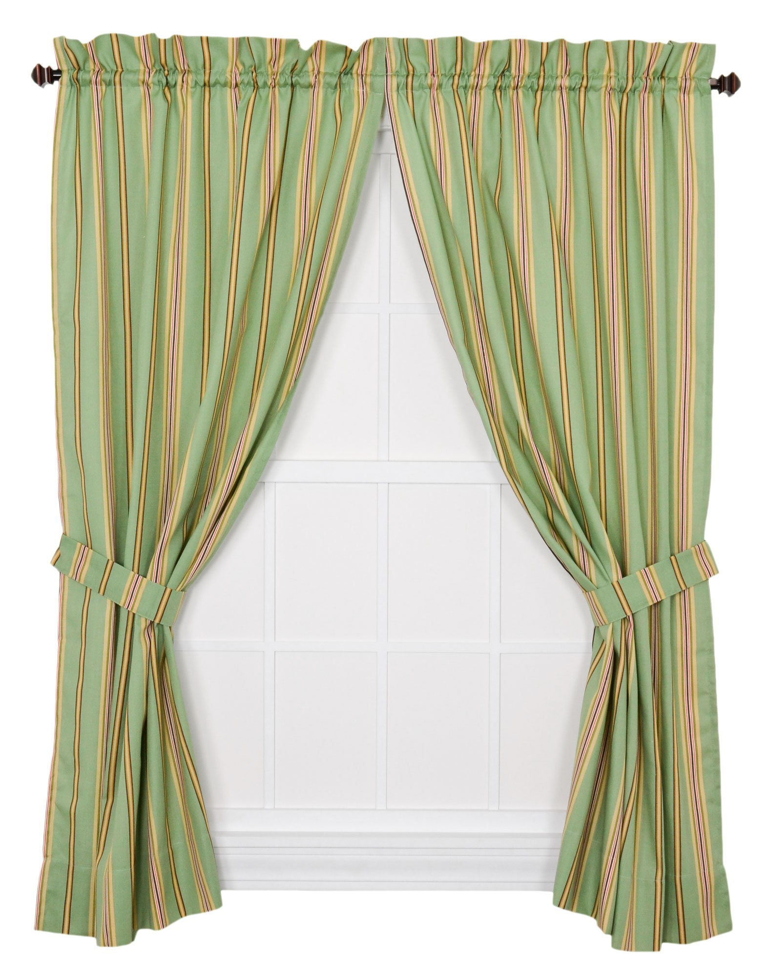 "Ellis Curtain Warwick Medium Scale Stripe 68 by 63-Inch Tailored Panel Pair Curtains with Tiebacks, Green - Multi colored medium scale vertically oriented stripe pattern featuring a range of shades and colors that coordinate easily with a variety of solids, checks, plaids, and florals makes it easy to fit within your home décor Made with 52-percent polyester/48-percent 5-ounce cotton duck fabric creates a smooth draping effect, soft texture and easy maintenance Panel is constructed with a 1.5"" rod pocket, 2.5"" header, and 5"" bottom hem; sold in pairs (2 panels) - living-room-soft-furnishings, living-room, draperies-curtains-shades - 81pY9oLJnuL -"