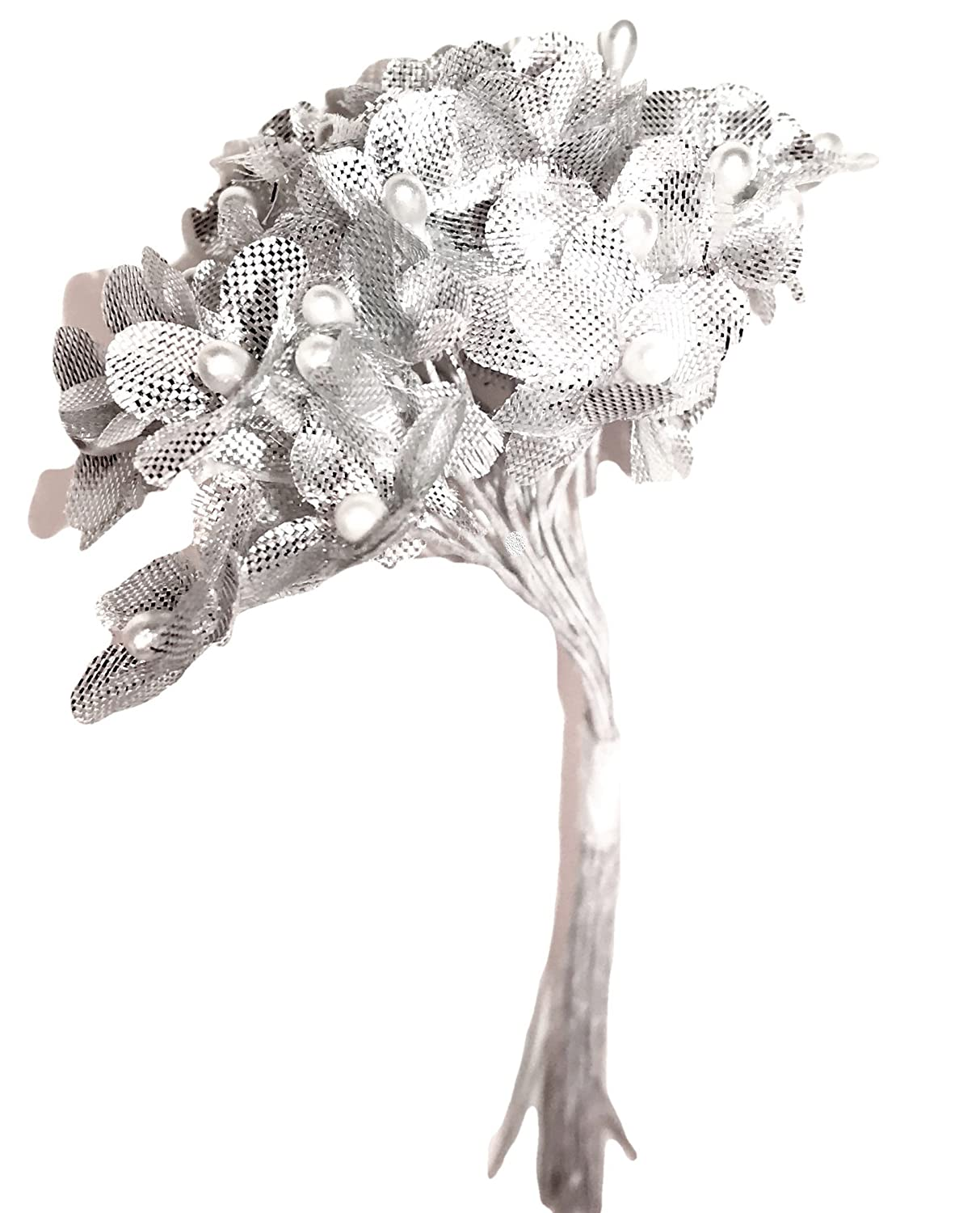 Mini Silver Lame' Fabric Flowers with Silver Pearl Centers on White Coated Wire Picks, Corsages, Wedding Bouquet, Floral Accents, Anniversary, Cake Decor, Bouquets, Candle Ring, Tabletop Decor Aliba 4336861431