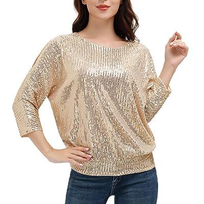 UK Womens Cold Shoulder Sequin Long Sleeve Tops Ladies V Neck Party Blouse Shirt