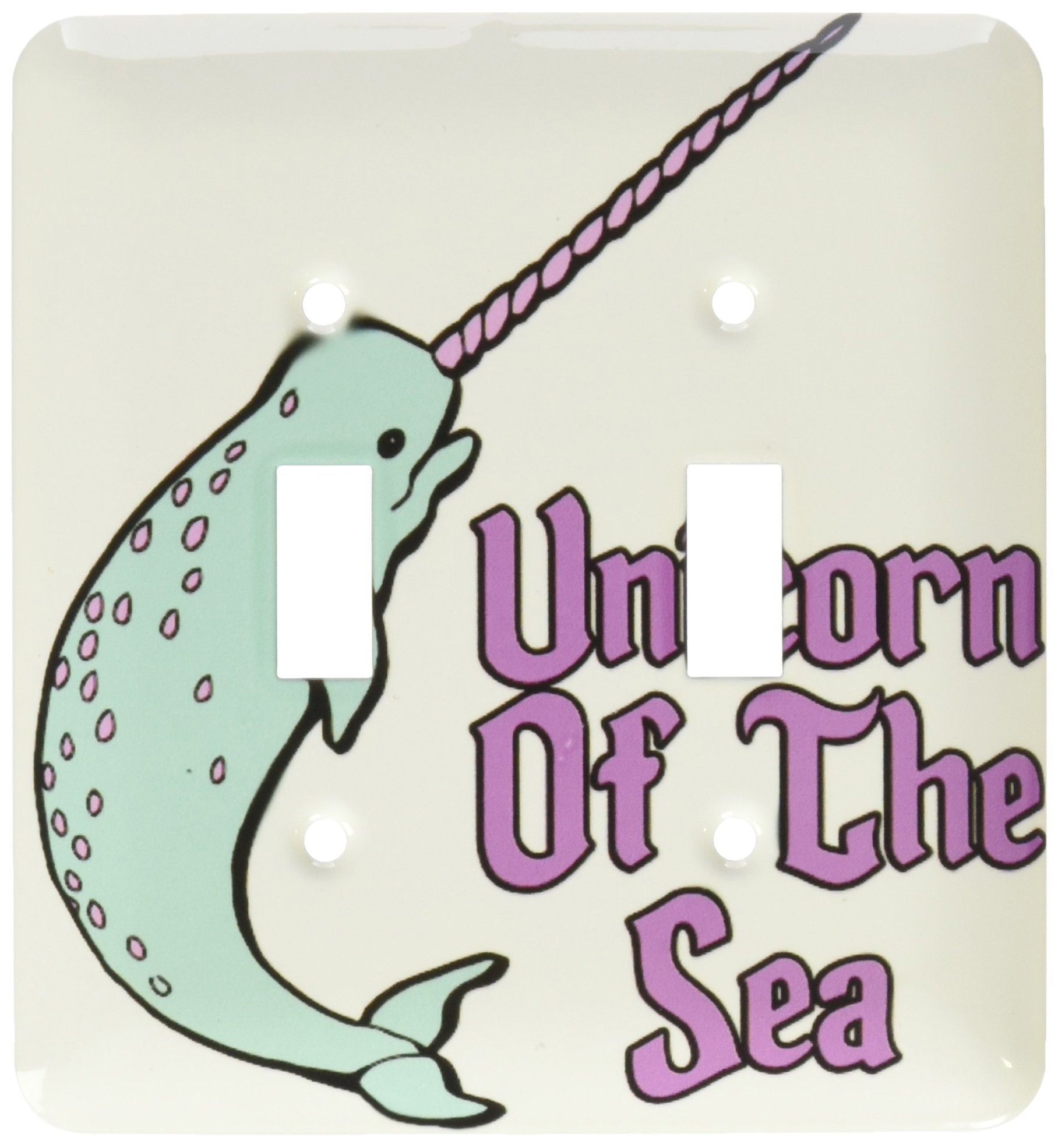 3dRose lsp_116362_2 Funny Cute Narwhal Unicorn of The Sea Fantasy Animal Design Double Toggle Switch
