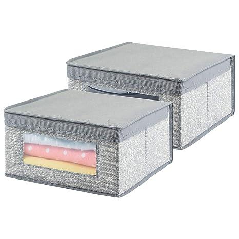 Mdesign Cajas Almacenaje Juego De 2 Cajas Almacenaje Ropa Toallas